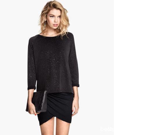 Spódnice Czarna drapowana asymetryczna spódniczka H&M
