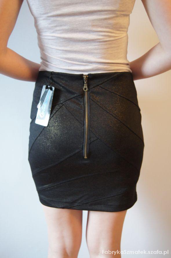 Spódnice New Yorker złoto czarna spódniczka