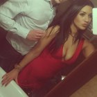 czerwona bandażowa sukienka
