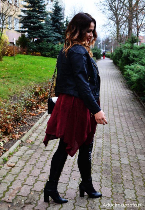 Blogerek bordowa asymetryczna bluzka