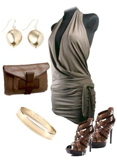 Imprezowe Imprezowa sukienka tunika w kolorze brązowym