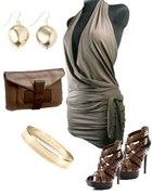 Imprezowa sukienka tunika w kolorze brązowym