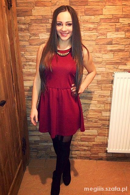 Imprezowe Burgundowa sukienka