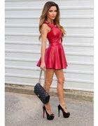 Bordowa skórzana mini sukienka
