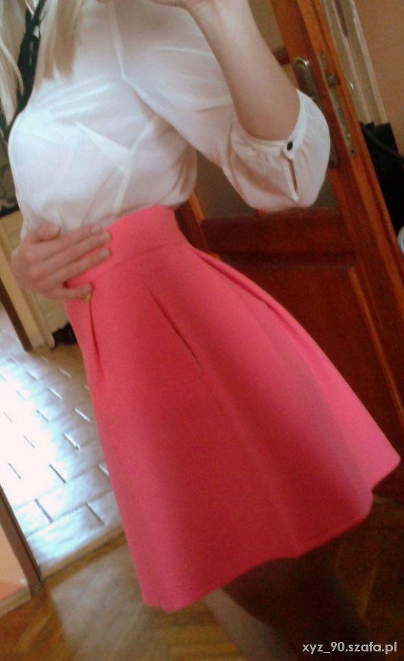Spódnice Piankowa spódnica rozkloszowana 36 S neon róż