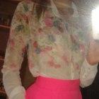 Piankowa spódnica rozkloszowana 36 S neon róż