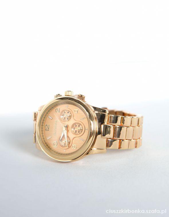 Metalowy zegarek Bershka miedziany