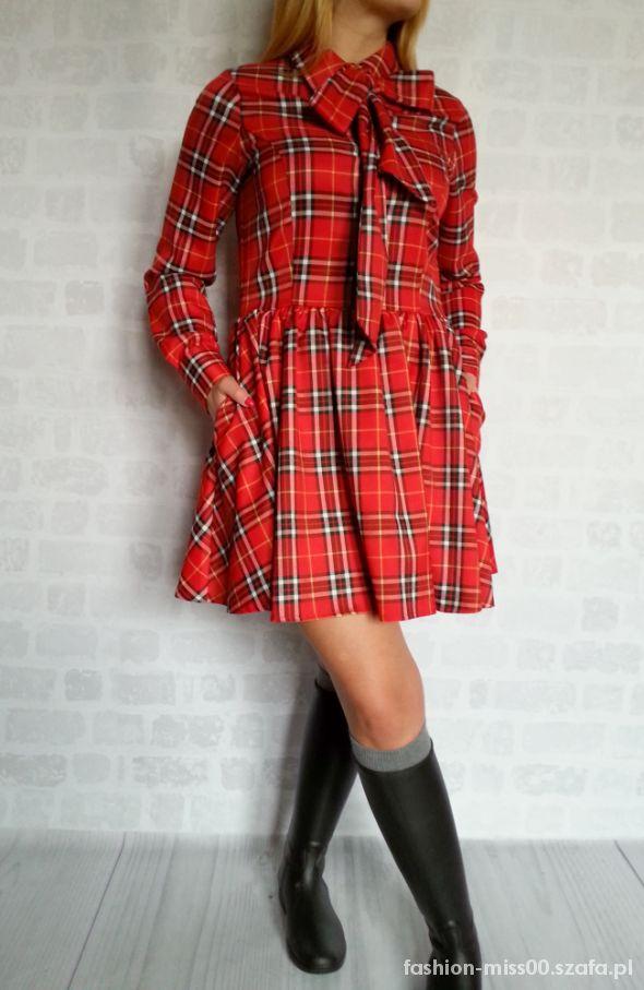 Modernistyczne MEGA sukienka czerwona kratka kokarda OKAZJA w Suknie i sukienki BI52