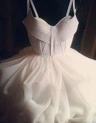 Sukienka Biała Z koła rozkloszowana princesska
