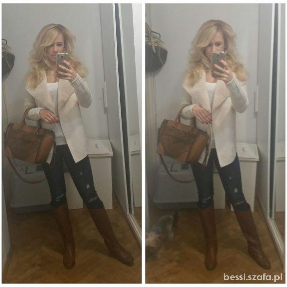 Mój styl Kremowy kożuszek