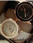 NOWY Duży czarny lub biały zegarek z logo CHANEL