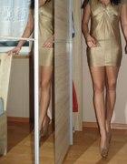 H&M sukienka złota S M