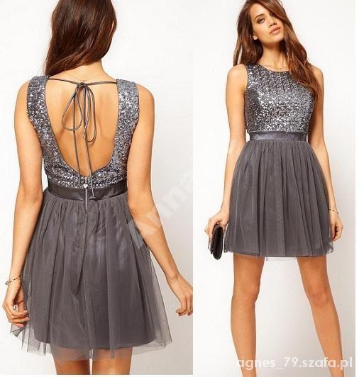 Asos szara sukienka z cekinową górą...
