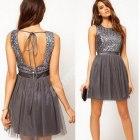 Asos szara sukienka z cekinową górą
