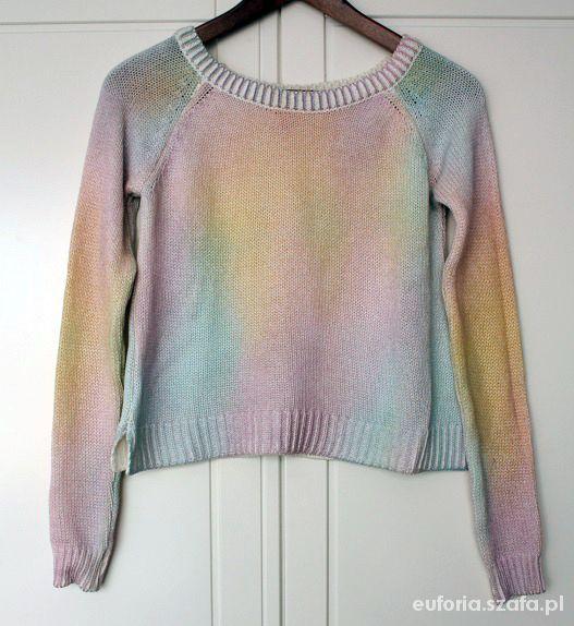 oryginalny tęczowy sweterek ombre H&M 34 i 36