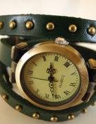 zegarek skórzany z ćwiekami zielony PROMOCJA