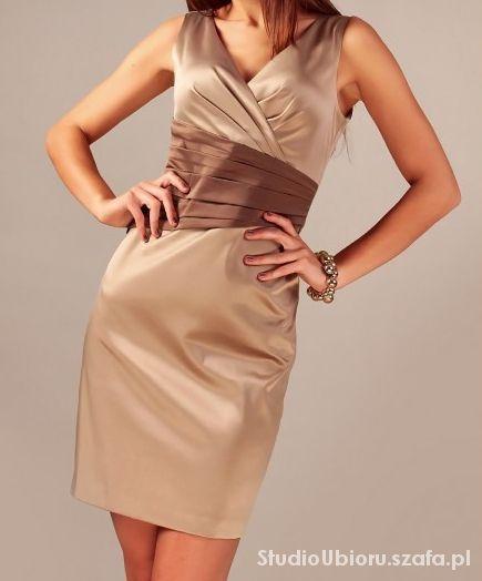 Suknie i sukienki Elegancka wieczorowa sukienka w rozmiarze 46