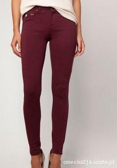 Burgundowe bordowe spodnie rurki skinny