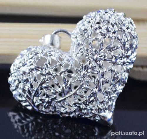 91844f57e28863 srebrna zawieszka mega serce ażurowe piekne w Zawieszki - Szafa.pl