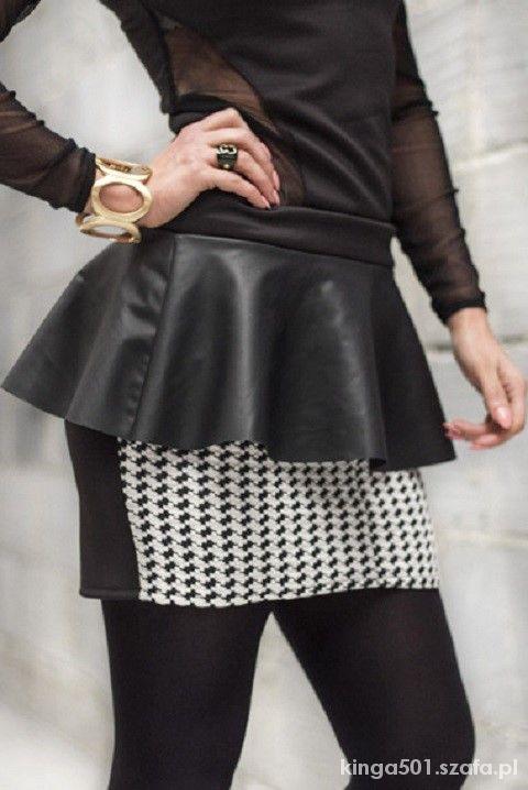 Spódnice Spódniczka mini w pepitkę baskinka skórzana