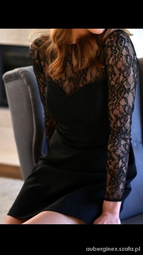 Eleganckie czarna sukienka zara z koronka