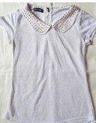 biała bluzka z kołnierzykiem dżety