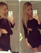 sukienka czarna wycięcia z boku