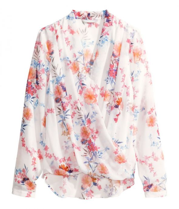 koszula kopertowa h&m floral kwiaty 38