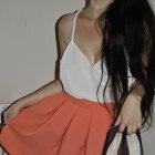 Rozkloszowana spódnica i oversizowy top