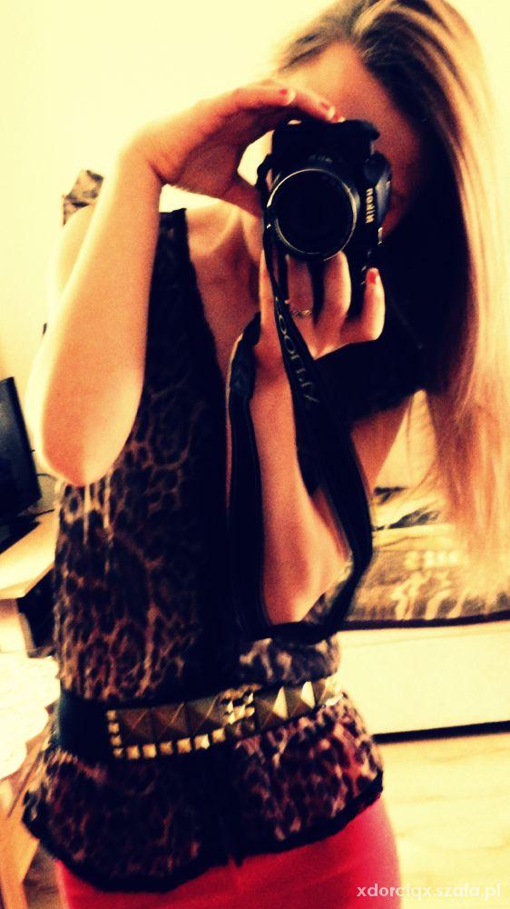 Eleganckie szyfonowa koszuzla panterka
