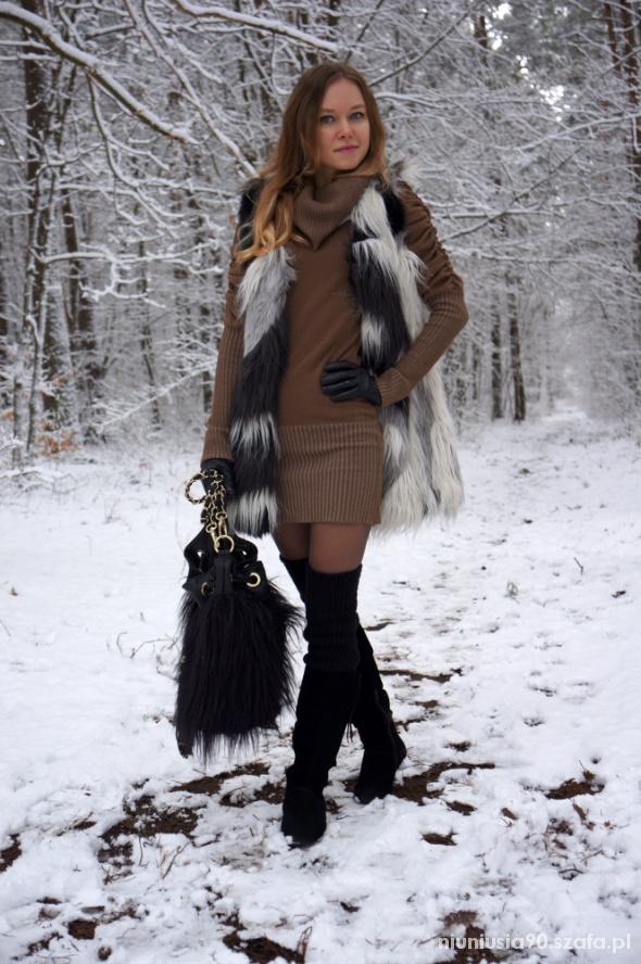 Fur Vest & Sweater Dress