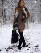 Fur Vest & Sweater Dress