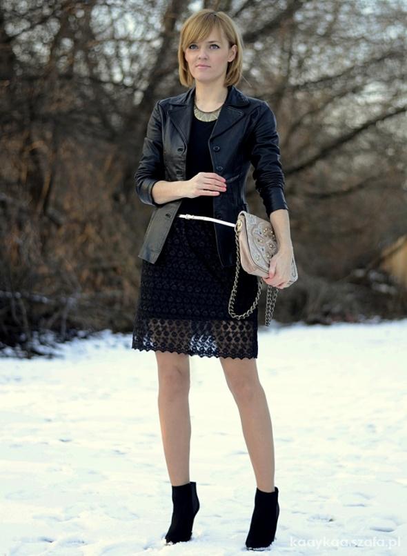 Blogerek Koronkowa czarna handmade