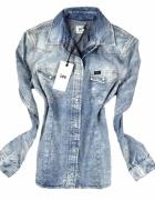 koszula jeansowa dzinsowa marmurkowa jasna xs 34