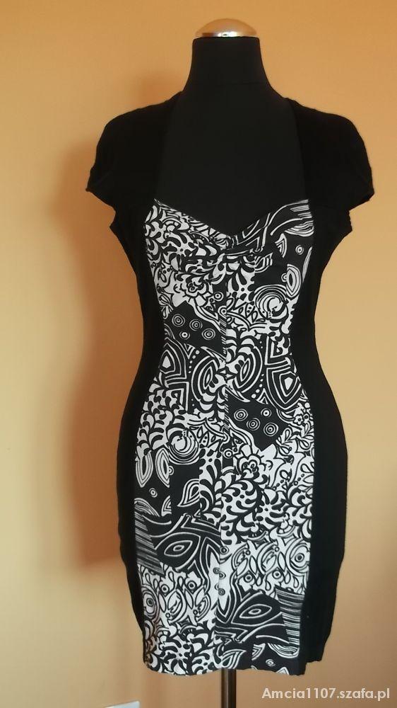 97b6591d24 czarno biała sukienka wyszczuplająca w Suknie i sukienki - Szafa.pl