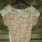 Wiązana bluzka top koronka kwiatuszki floral