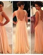 NOWA brzoskwiniowa długa sukienka koronka plecy S