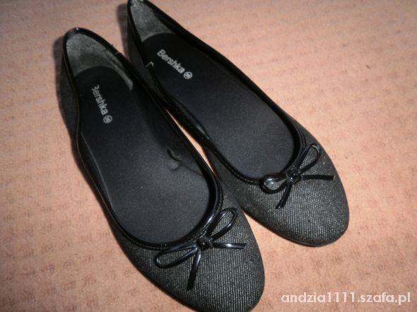 BERSHKA czarne balerinki 38