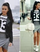 pencil skirt & wang top...