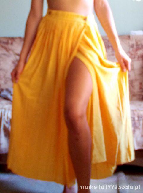 Spódnice Długa żółta spódnica 36 stan idealny plisowana