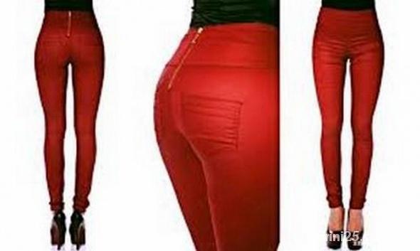 Czerwone woskowane spodnie z wysokim stanem zip