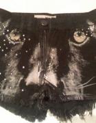 Topshop moto jeansowe szorty black panther ćwieki...