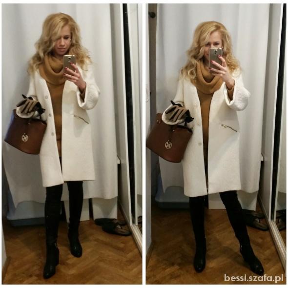 Mój styl Biały płaszcz boyfriend