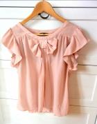 Różowa bluzka PAPAYA falbanki kokarda L pastele