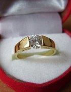 18kt piękny pierścionek 17roz