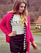 różowy sweterek narzutka S