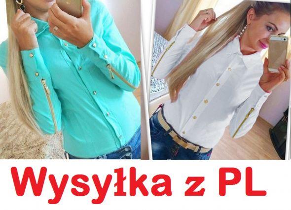 Koszule Złote Guziki Miętowe Białe S M L XL