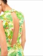 BERSHKA sukienka neoprenowa we flamingi M 38 L 40