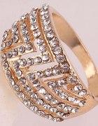 Złoty pierścionek Crystal 14K Rose GF