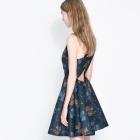 Sukienka ZARA granatowa kwiaty